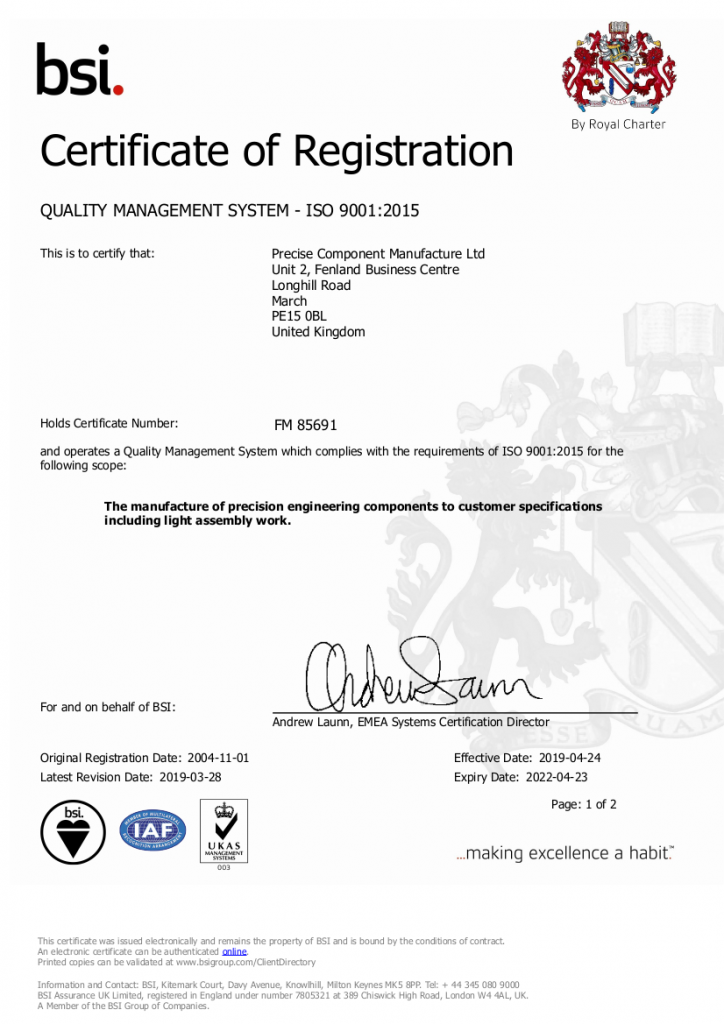 BSI certificate to show PCML are able to manufacture precision engineering components